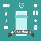 Set of icons on a theme of deep sleep — Stock Vector