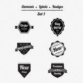 Set 1 elements, labels and badges in a retro style — Vecteur