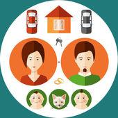 Giovane famiglia in uno stile piano di pensare a casa sua, Bam — Vettoriale Stock