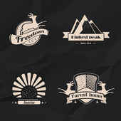 Labels and badges set in hipster style on a black background  — Stock Vector