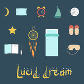 Set of icons on a theme of lucid dream — Stock Vector