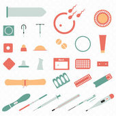 All modern types and contraception methods. Icons. — Stock Vector