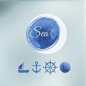 Water color sea elements of design. — Stock Vector