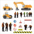 Workers and machines for road construction — Stock Vector #43038851