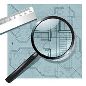 Magnifying glass on the architectural project — Stock Vector
