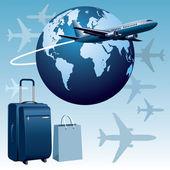 Airplane travel — Stock Vector