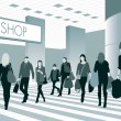 People in shopping center — Stock Vector