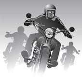 Bikers on the road  — Stock Vector