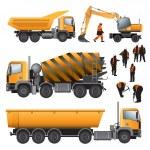 Постер, плакат: Construction machines and workers