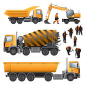 Construction machines and workers — Stock Vector