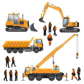 Workers and construction machines — Stock Vector