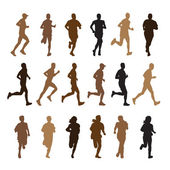 Running people silhouettes — Stockvektor