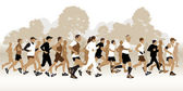 Running people in the park — Stock Vector