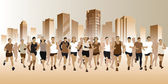 Running people — Stock Vector
