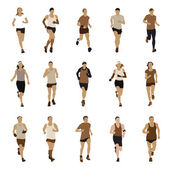 Running people silhouettes — Vector de stock