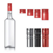 Vodka bottle with caps — Stock Vector