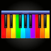 Rainbow classical piano icon — Stock Vector