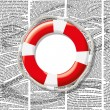 Постер, плакат: Vector lifebuoy on waves of newspaper columns