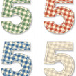 Checkered linen fabric letters 5 — Stock Vector #43889497