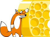 Illustration of fox with cheese — Vector de stock