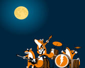 Foxes in the night concert — Stock Vector