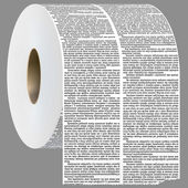 Newspaper columns shaped in toilet roll. — Stock Vector