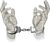 Handcuffed hands of newspaper columns — Stock Vector