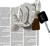 Hand newspaper columns texture with a car keys — Stock Vector