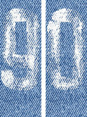 Vector   numbers on denim 9, 0 — Vector de stock