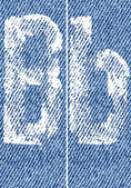 Vector letters and numbers on denim B — Vector de stock