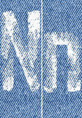 Vector letters and numbers on denim N — ストックベクタ