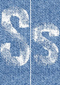 Vector letters and numbers on denim S — Vector de stock