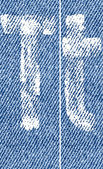 Vector letters and numbers on denim T — ストックベクタ