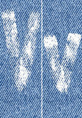 Vector letters and numbers on denim V — ストックベクタ