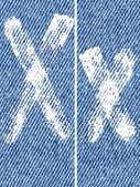 Vector letters and numbers on denim X — ストックベクタ