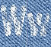 Vector letters and numbers on denim W — ストックベクタ
