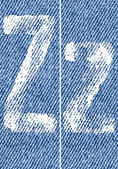 Vector letters and numbers on denim Z — ストックベクタ