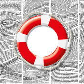 Vector lifebuoy on waves of newspaper columns — Stock Vector