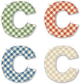 Checkered linen fabric letters C — Stock Vector