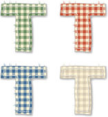 Checkered linen fabric letters T — Stock Vector