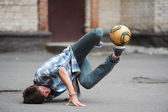 Football freestyle — Stock Photo