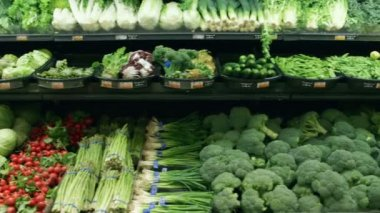 Wide shot moving past fresh vegetables in a supermarket grocery — Stock Video