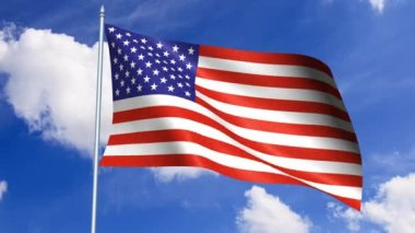 American flag waving in the wind against a blue sky — Stock Video