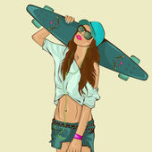 The beautiful young girl with skateboard — 图库矢量图片