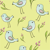 Cute birds with flowers seamless background — Stock Vector