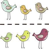 Simpatici uccellini in piedi in uno sfondo — Vettoriale Stock