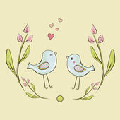 Two cute little birds are framed by flowers background — Stock Vector