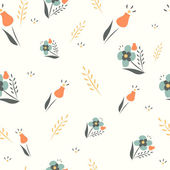 Cute floral spring seamless vector background. — 图库矢量图片
