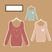 Three beautiful blouses on hangers in retro style vector. — Stock Vector