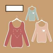 Trzy piękne bluzki na wieszakach w stylu retro wektor. — Wektor stockowy